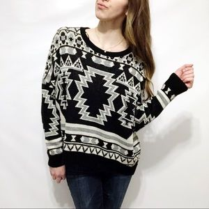 UO BDG Tribal Jacquard-Knit Dolman Sleeve Sweater